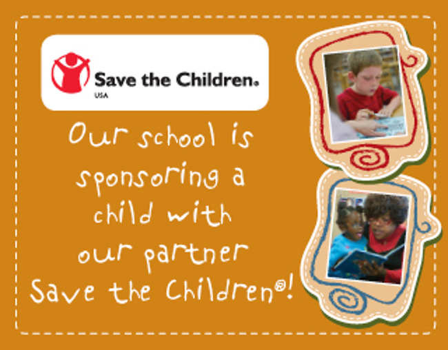 Poster stating that Primrose school of Savage sponsors one child in association with Save the Children Foundation