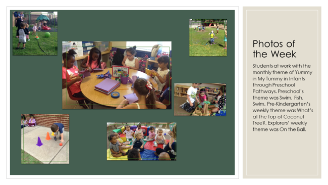 Photos for each general class program: Infants, Toddlers, Early Preschool and Preschool Pathways, Preschool, Pre-K, and Kinde