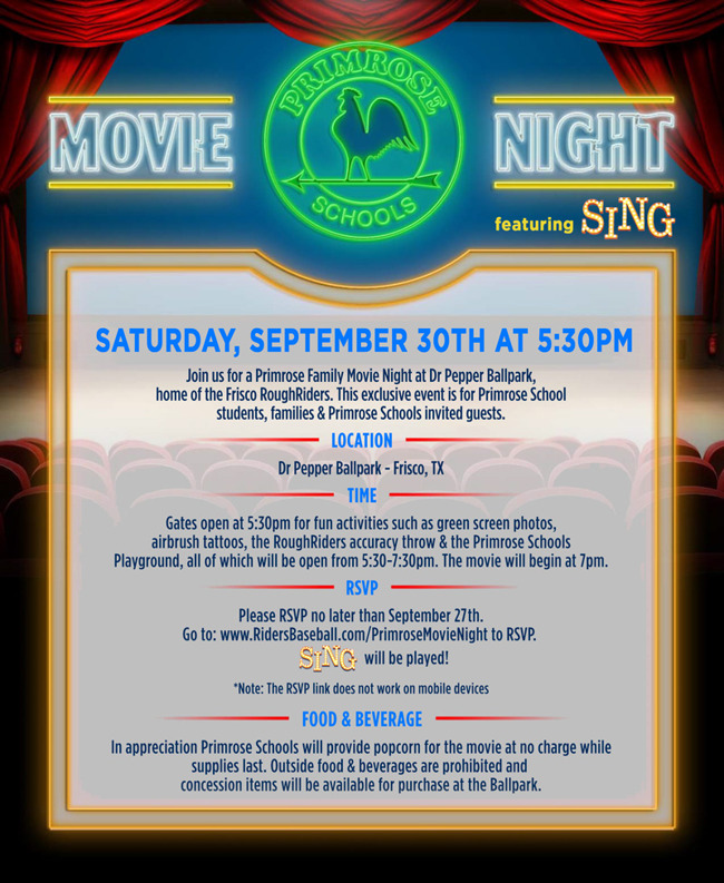 Movie night poster describing the time, date, venue and food and beverage details