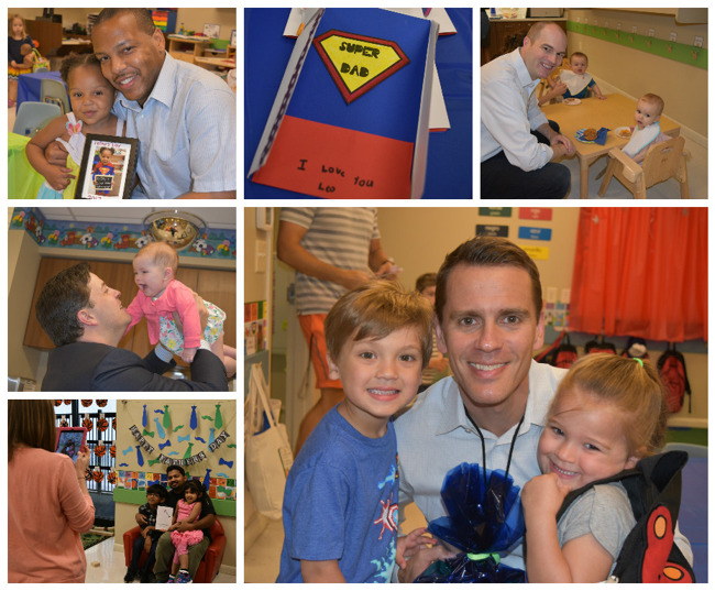 """Collage of children enjoying the """"Donuts for dad"""" celebration with their fathers in school"""