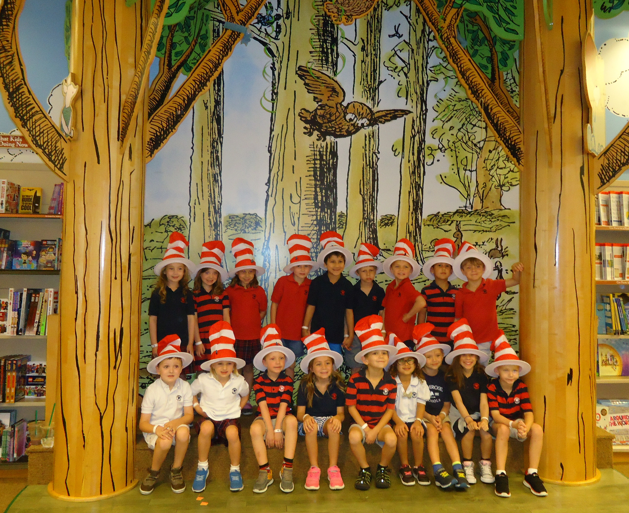photo of Primrose Private Kindergarten class at Barnes and Noble Bookstore wearing Dr. Seuss Hats