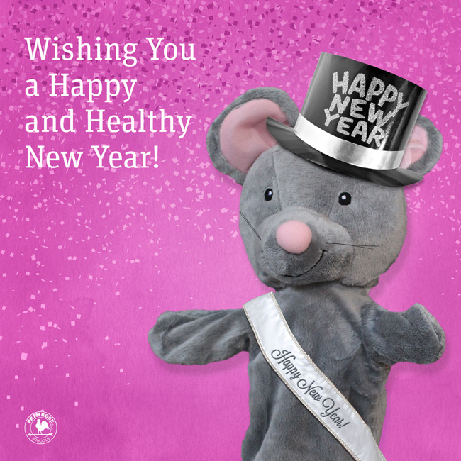 Mia the mouse wishing everyone a happy new year