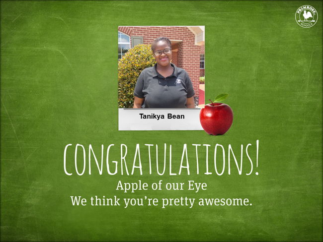 Green image with a picture of an employee that is being congratulated for being apple of the eye