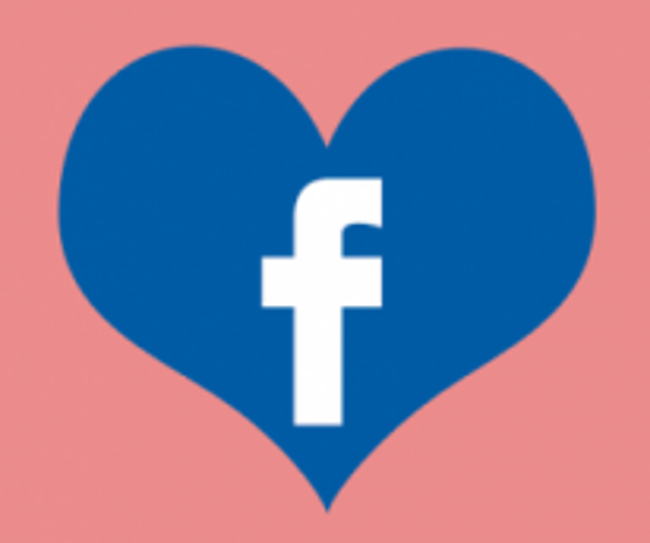 Heart shaped Facebook logo