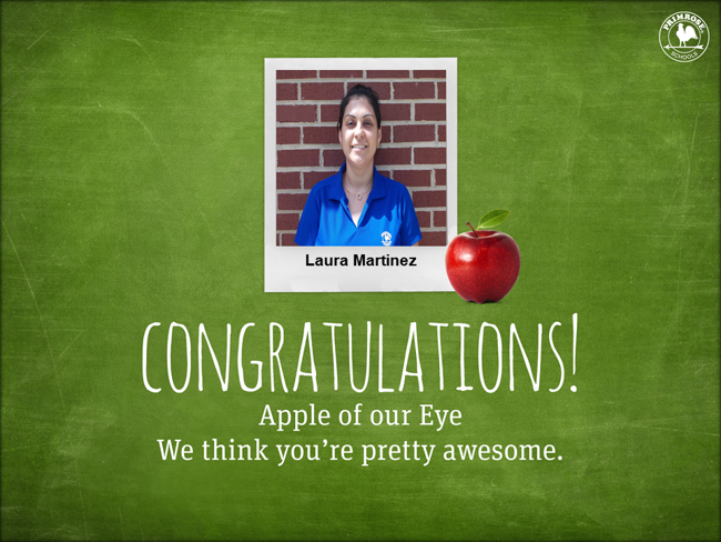 Apple of the Eye graphic with green background and picture of Laura in blue shirt