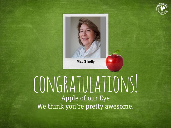 Apple of the Eye with Ms. Shelly's picture in the top center