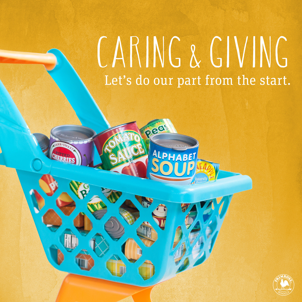Play grocery cart filled with play cans for donations