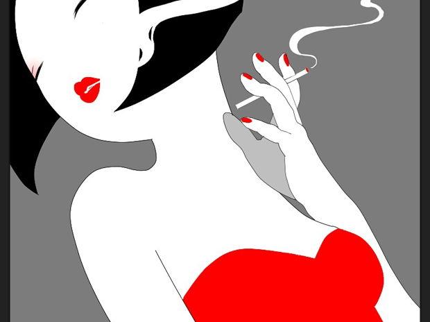抽烟的女生