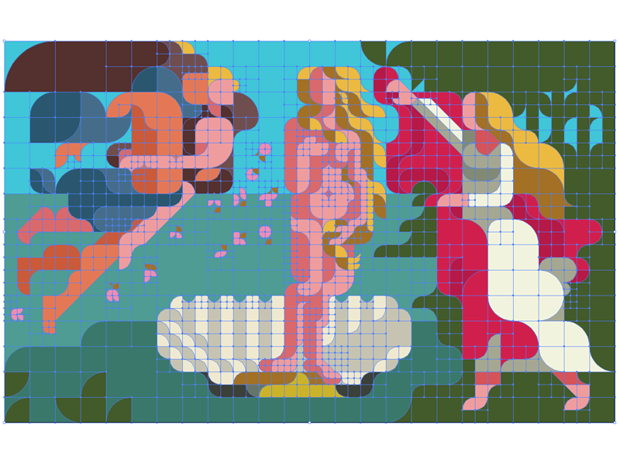 Grid WIP  -  The Birth of Venus (Sandro Botticelli) ヴィーナスの誕生