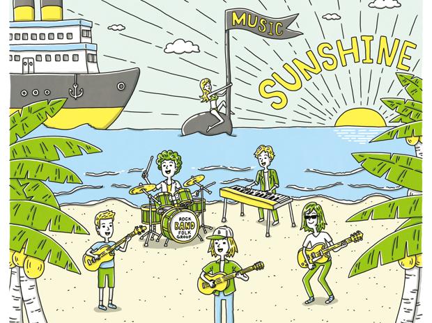 夏フェスの砂浜のバンド
