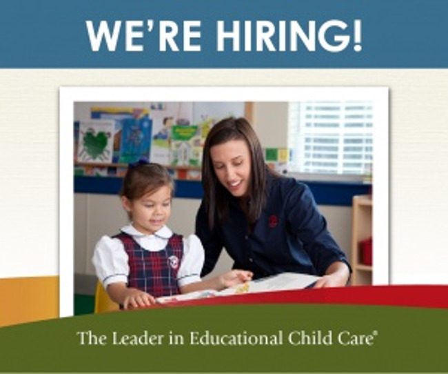 We're hiring poster featuring a Primrose teacher helping her Pre-K student read