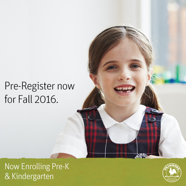 Pre-registration poster featuring a smiling Primrose student in uniform