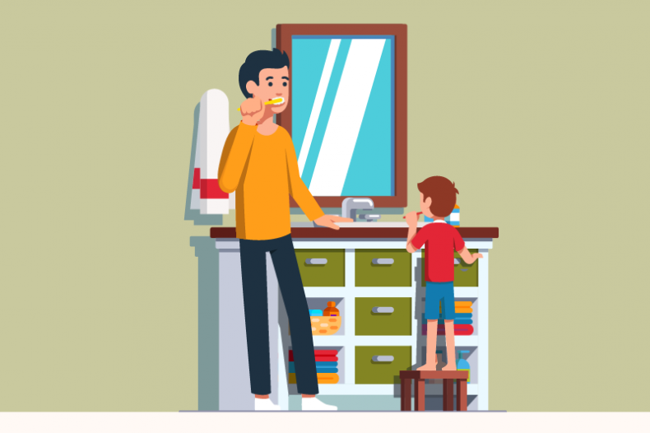 illustration of boy and parent brushing teeth