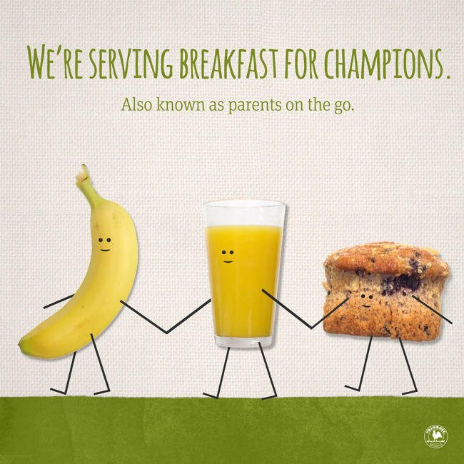 Breakfast of champions poster featuring a banana, a glass of orange juice and a muffin holding hands and walking
