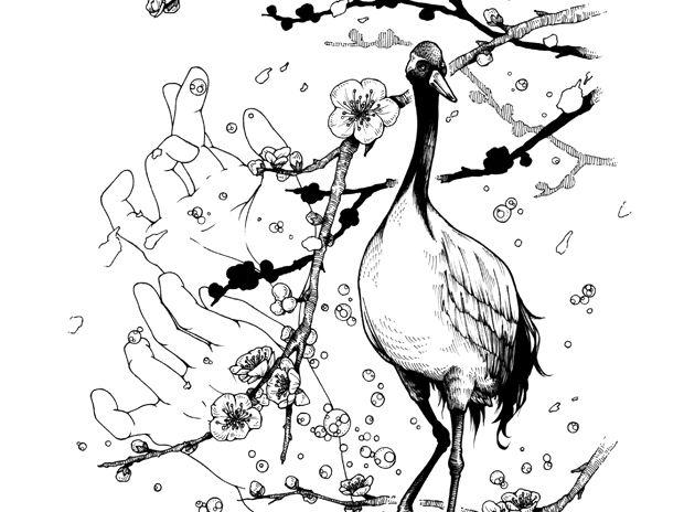 花鳥 梅と丹頂 2017睦月