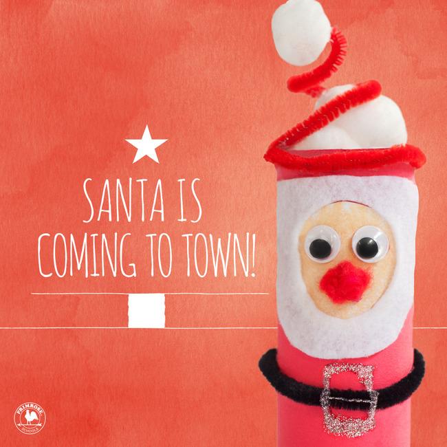 Break fast with Santa poster featuring a DIY paper towel roll Santa