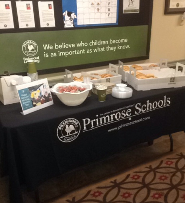 Image of Panera Bread bagels, parfaits, and coffee to go. Photo of breakfast in front office of Primrose school.