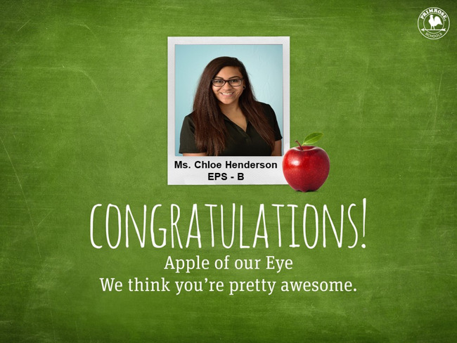 Congratulations To Our March Apple Of Our Eye Teacher - Ms. Chloe Henderson! Thank you for all your amazing & hard work!