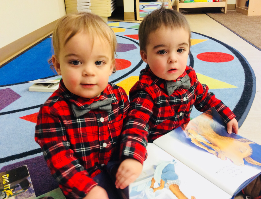 On Red Day, the brothers selected 'Llama, Llama, Red Pajama' to read together.