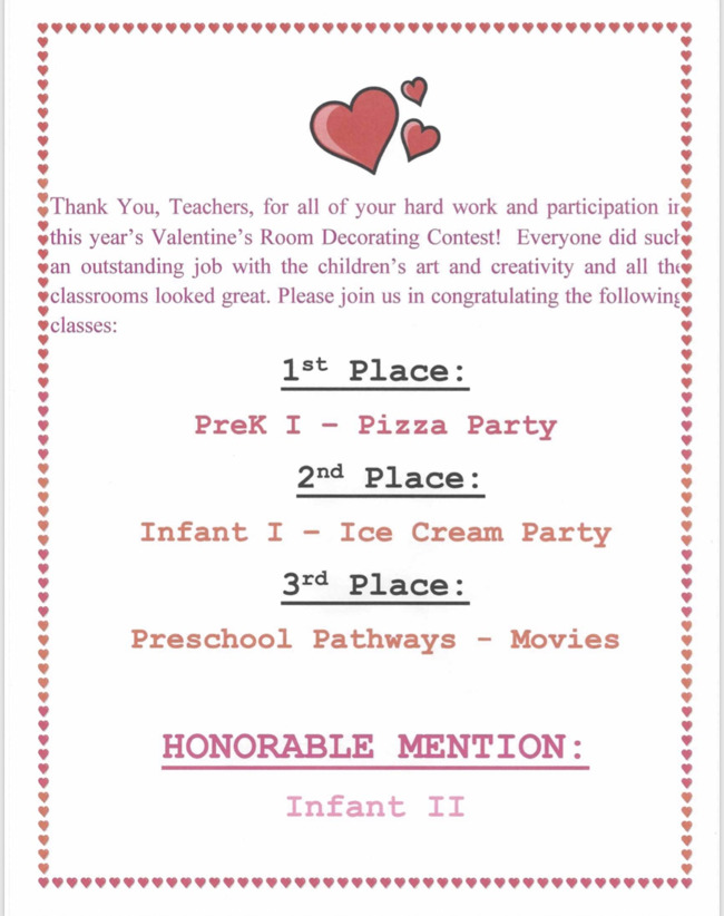 Congratulations to our Valentine's Room Decorating Contest winners! Great job ladies