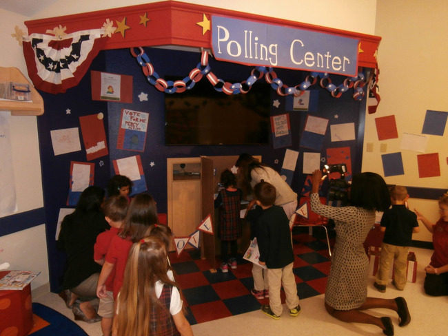 Young Primrose students vote at the Primrose election polling station