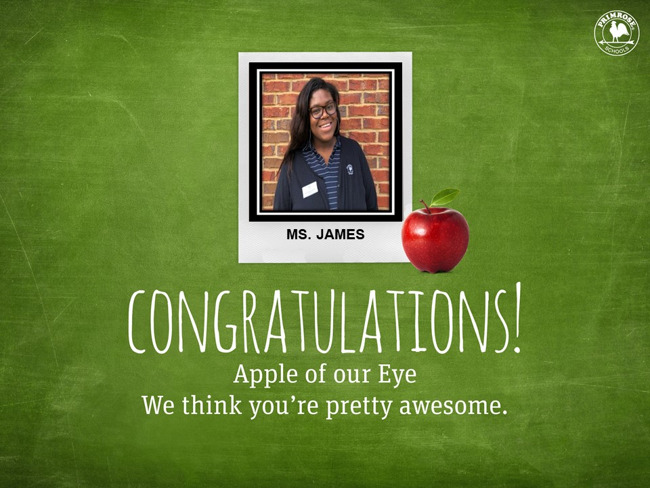 Ms. James, April Apple of Our Eye!