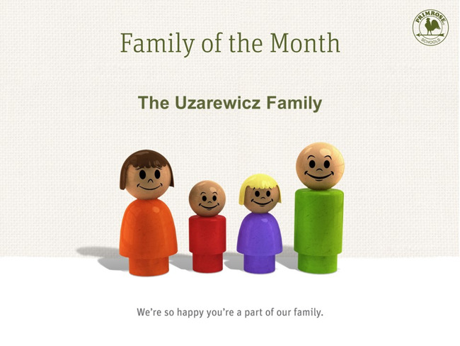 family of the month mom dad children brothers preston meadow primrose schools red green yellow blue
