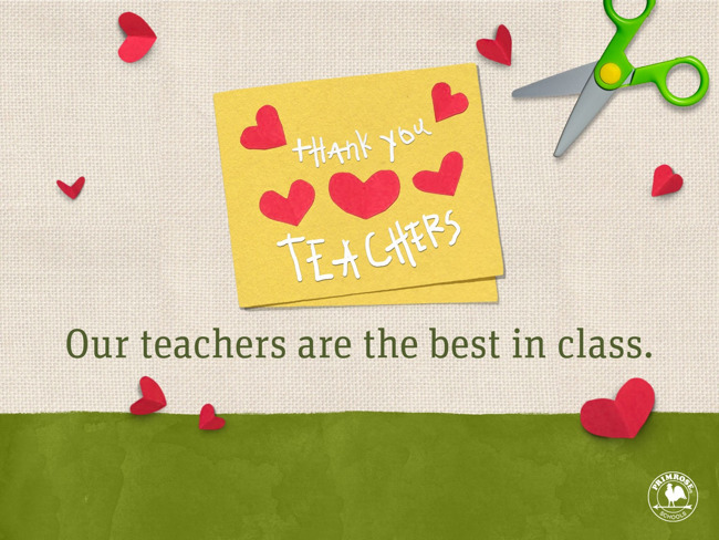 "A handmade card is sitting on a tan background, with the caption ""Our teachers are the best in class."""