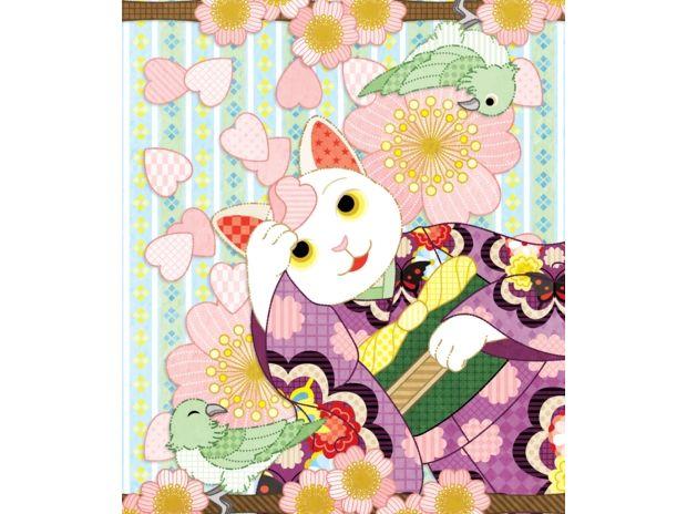 春夏秋冬四季の猫のイラスト集「春うらら…着物猫と桜と鶯」(リメイク)