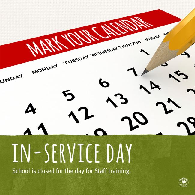 School closure reminder for teacher in-service training
