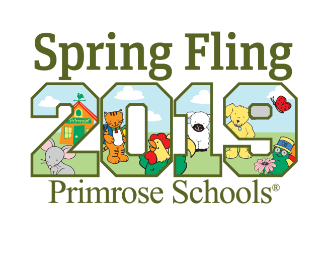 Spring Fling 2019 with Primrose friend animals inside the logo letters