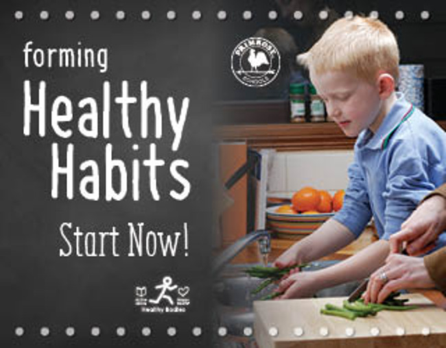 Healthy habits poster featuring a young boy helping his mother for dinner by washing vegetables