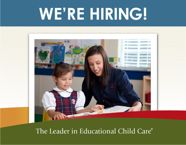 Now hiring poster featuring a Primrose teacher helping her young student to read a book