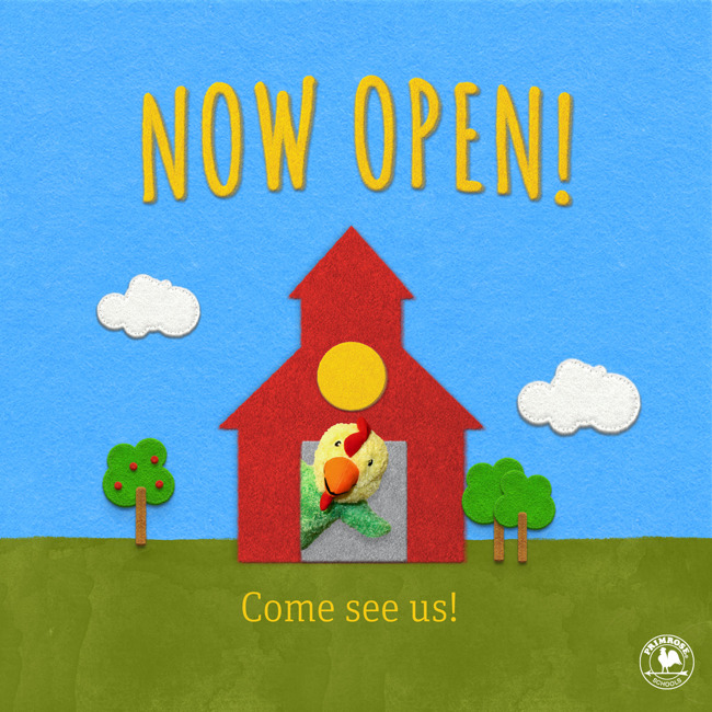 Now open poster featuring Primrose puppet Percy the chicken popping out of a barn