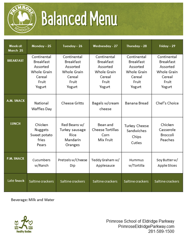 Describes the menu for the week of March 25th through March 29th