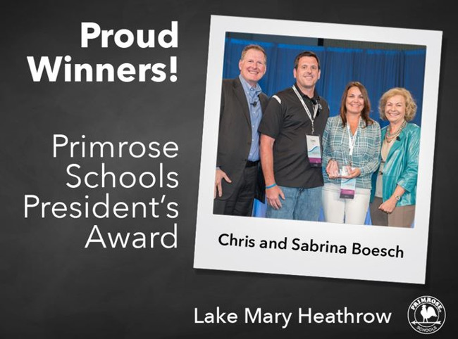 Primrose school of Lake Mary Heathrow's Chris and Sabrina Boesch being awarded the President's award