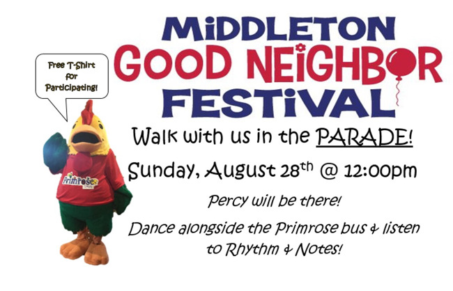 Middleton good neighbor festival poster inviting everyone to participate, featuring Percy the chicken mascot