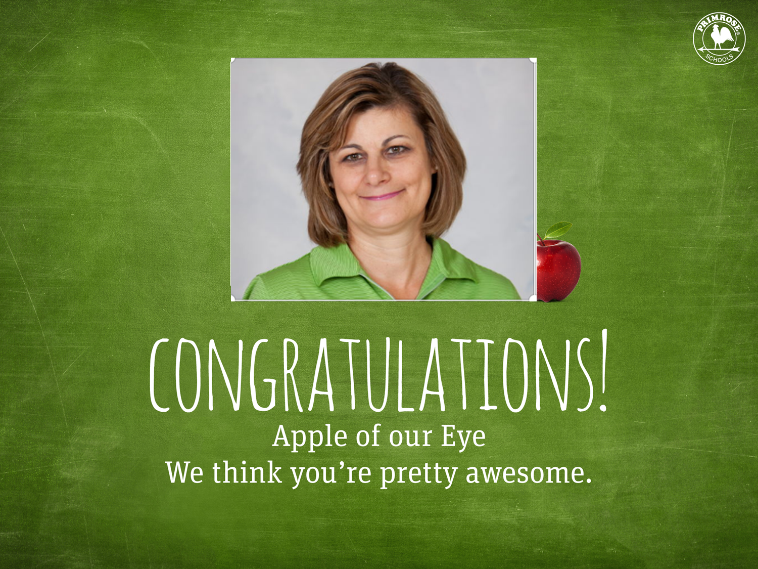 Congratulations poster featuring Ms. Mina Krantic as the apple of our eye for May