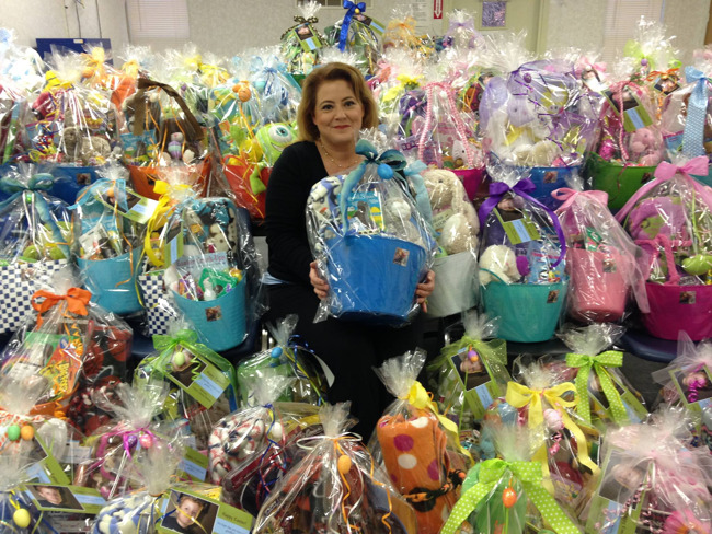 Michelle Allen with her famous gift baskets for nurses and children in the hospital