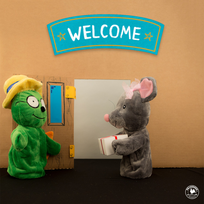 puppets saying welcome to each other