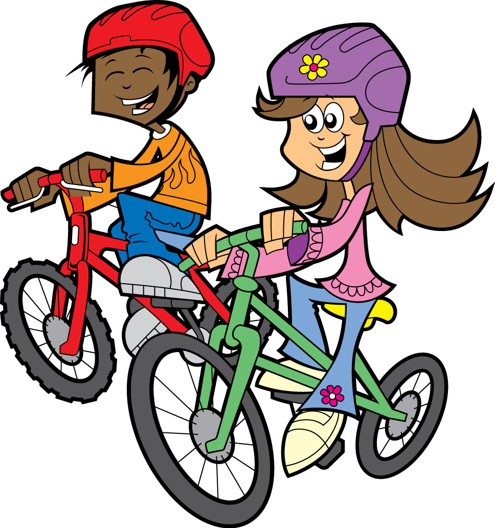 A cartoon girl and boy are smiling while riding their bikes.