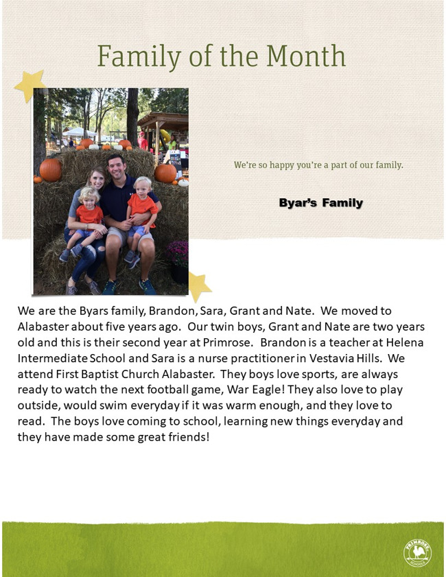 We are the Byars family, Brandon, Sara, Grant and Nate.