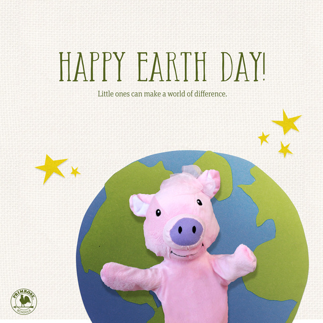 Happy earth day poster with Primrose puppet