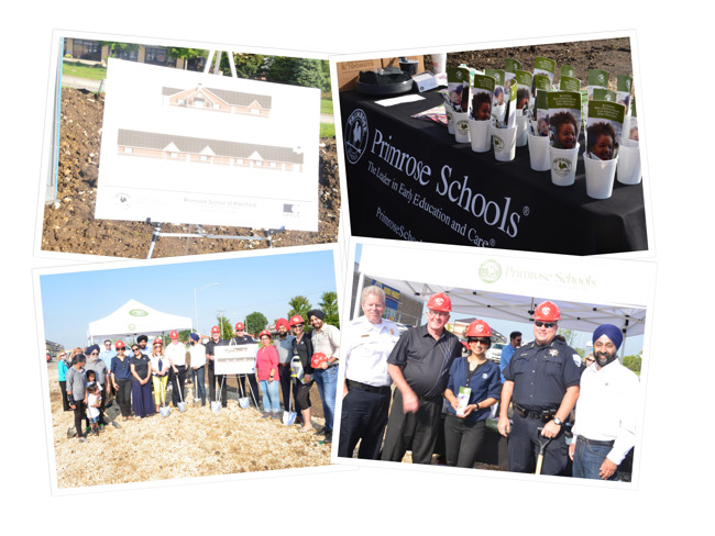Collage of images from the ground breaking ceremony