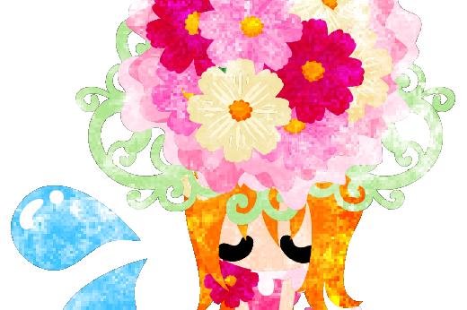 落ち込む可愛い女の子とコスモスの花