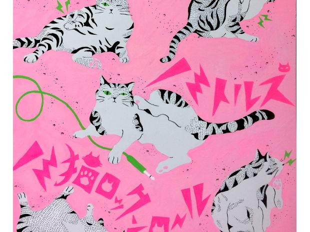 """ノミトルズ """"ノミ猫ロックンロール""""/個展【R'n'R(ロックのレコード)】作品"""
