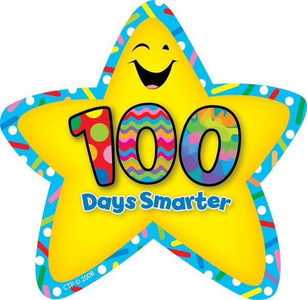"""A colorful star with the words """"100 days smarter"""" in the center"""