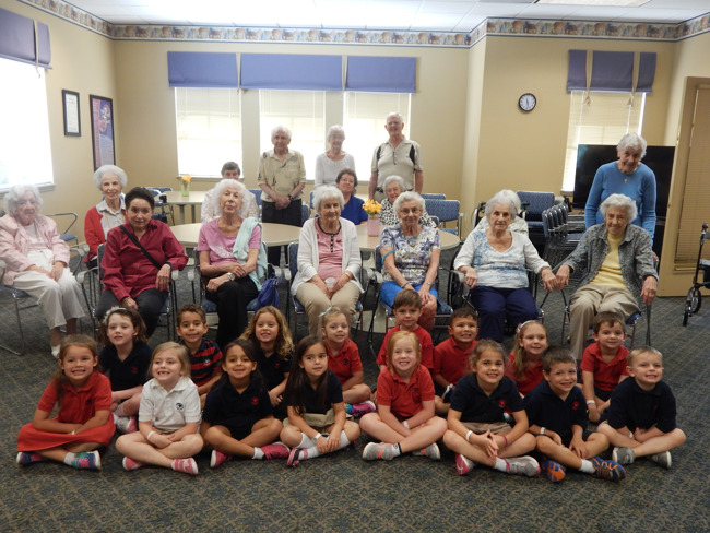 Primrose students pose with seniors at the Windsor