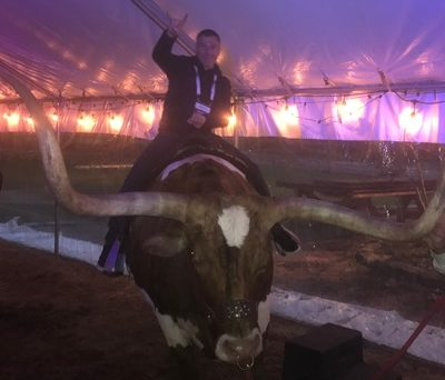 Ryan Shanks, Riding a bull at RiskAnalyze Summit