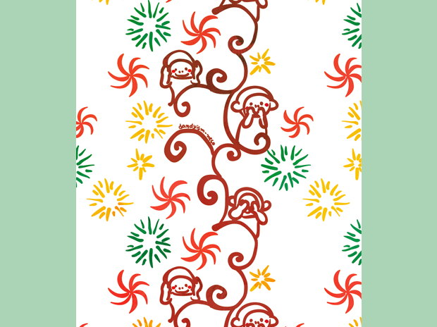 2016三猿柄年賀状